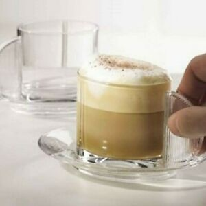 Riedel Wine Glass Co Cappuccino Set 2 Coffee Mugs Saucers Crystal Espresso Cups