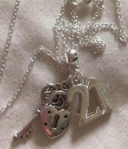 "21st Birthday Pendant+lock&key Charm+925 Silver 20"" Chain/in a bx"