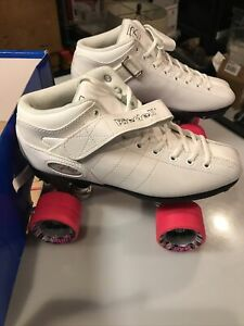 Riedell White R3 Women's Sz 7 Roller Derby Skates with Pink Cayman Radar Wheels