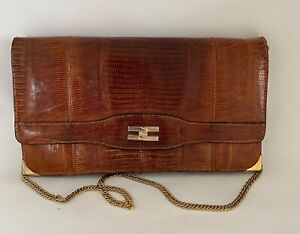 VINTAGE J. PEREZ BROWN REPTILE SKIN AND LEATHER CLUTCH BAG WITH CHAIN STRAP