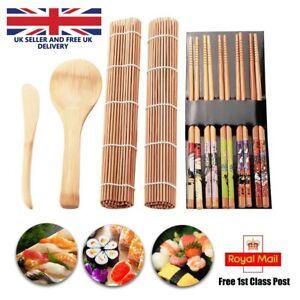 DIY Bamboo Sushi Maker Making Kits Kitchen Rice Sushi Curtain Tool Set UK 9PCS