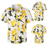 Men's Beach Lemon Print Short Sleeves Shirts Casual Tops Holiday Tee Size M-2XL