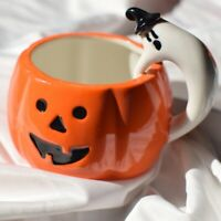 Pumpkin Cup with Ghost Handle Milk/Tea/Coffee Mug Halloween Gift Ceramic Wa D1I1