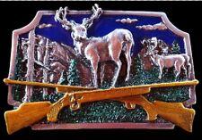 Deer Buck Antler Animal Rifle Guns Hunting Hunter Belt Buckle Boucle de Ceinture