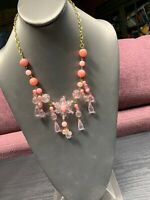 "Vintage  Ladies Statement Necklace  Pink Clear Lucite  Flower Dangle  18"" Long"