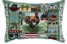 "Rooster Chicken Tapestry Cushion /  Pillow Cover Country 13x18"" New."