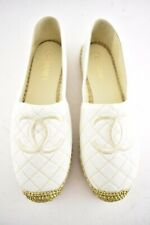 Chanel White Gold Canvas CC Logo Quilted Double Sole Espadrille Ballet Flat 42