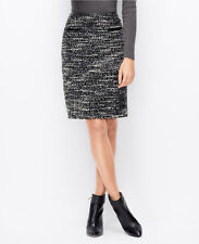 Ann Taylor Faux Leather Pocket Tweed Skirt Size 10P, 12P NWT Midnight Multi
