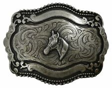 "silver, Western, horse buckle 1.5""/4 c Fronhofer Horse head belt buckle, antique"