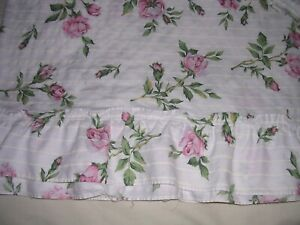 022A TWO Vintage TWIN SIZED Bedspreads SHABBY CHIC PINK ROSES Cotton Polyester