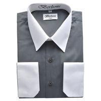 Berlioni Men's Regular Fit Two Tone Dress Shirt Charcoal