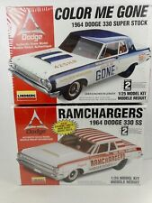 NEW LOT OF 2 - LINDBERG 1964 DODGE DRAG CARS 1:25TH SCALE PLASTIC MODEL KITS NOS