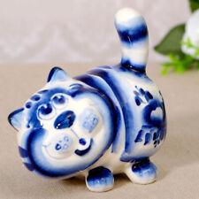 Figurine Chat rigolo/ Statuette Chat en porcelaine russe peint main/ Gzhel