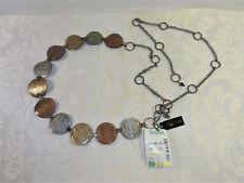 Metal Disc Belt Enameled Metal Adjustable Belt Copper Bronze Silver Tones Birch