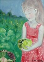 HINKLE Garden Child Farmer Girl country folk art oil painting framed original