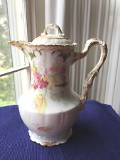 Imperial Limoges France Pink And Yellow Roses Porcelain Coffeepot
