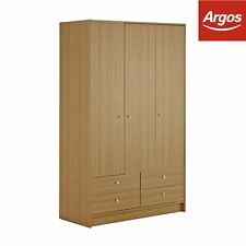Argos Home New Malibu 3 Door 4 Drawer Wardrobe - Oak Effect