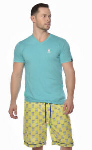 Psycho Bunny Men's NWT 2-piece Set Luxe Lounge V-Neck Pajama Shorts Size Medium