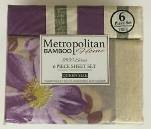 Metropolitan Bamboo Home Queen Size 1800 Series 6 Piece Bed Sheet Set Cotton