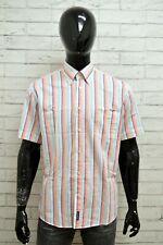 Camicia MC GREGOR Uomo Taglia XL Maglia Maglietta Shirt Man Cotone Bianco Righe