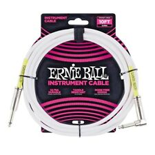 Ernie Ball 10ft Straight-Angle Instrument Cable, White P/N P06049