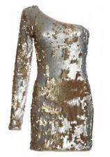 NEW JONES + JONES GOLD/SILVER SEQUIN ONE SHOULDER DRESS  Size 8