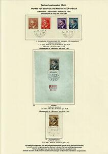 Tschechoslowakei 1945 Bömen und Mähren mit Überdruck