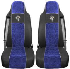 Iveco Eco Stralis ab 2013 Passform Schwarz Blau Autositzbezüge VELOUR LKW 2Gurte