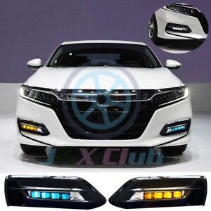 3 Colors LED Daytime Running Lamp FogLight Bezels Kit For Honda Accord 2018-2020