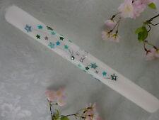 Taufkerze Kommunionkerze Sterne türkis grün Junge Mädchen 400/40 mm