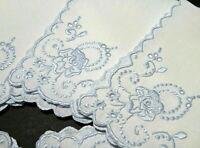 6 Madeira Embroidery Cocktail Tea Napkins Amazing Vintage Blue Floral Handwork
