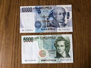REPUBBLICA lotto 2 BANCONOTE LIRE 5000 BELLINI LIRE 10000 VOLTA