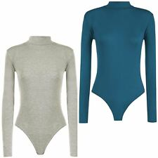 New Ladies Long Sleeve Plain High Polo Turtle Neck Bodysuit Leotard Top