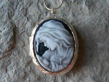 VIRGIN MARY & BABY JESUS (MOTHER/BABY) CAMEO (hand painted) LOCKET- MOTHER  MARY
