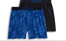 Men's Jockey 2-Pack Boxers Briefs (Camo Blue/Black) No Bunch Comfort Underwear