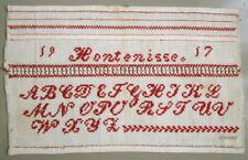 1917 CHARMING ANTIQUE DUTCH RED ALPHABET SAMPLER CROSS STITCH NEEDLEWORK