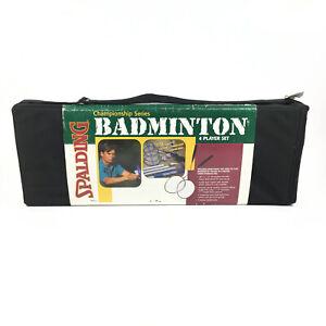 Vintage Spalding Championship Series Badminton 4 Player Set Deluxe Carry Bag NOS