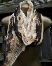 Cream/Black/GoldSequin/ Ruched Scarf/Shawl/Hip Boho/Hippy/Belly Dancing Style