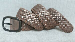 FOSSIL - Women's Belt - GOLDISH BROWN Leather - BRAIDED DESIGN - Size L
