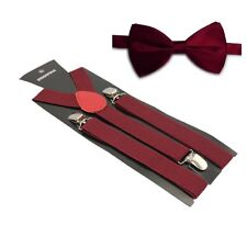 Hosenträger und Fliegen Set -Y Form 25mm 3 Clips Herren Fliege Suspender Maroon