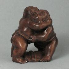 """1940's Japanese master Boxwood Netsuke """"2 Japanese Sumo Man"""" Figurine Carving"""