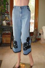 Too cute!  V Cristina Sz P 12 Blue Jean Capri Pants Jeans Black Lace Trim EUC