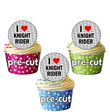 I Love Knight Rider - 24 Cupcake Toppers Cake Decorations - Precut Circles