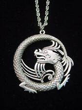 """Jj"" Jonette Jewelry Silver Pewter Detailed Chinese Dragon 30"" Necklace"