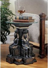 Ancient Egyptian Pharaoh Ramses Sculptural Glass Top Cocktail Table