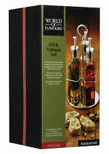 KitchenCraft - World Of Flavours Italian 3 Bottle Glass Oil & Vinegar Set
