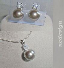 925 Sterling Silber Schmuckset Kette Anhänger Ohrringe Perle grau Zirkonia Etui