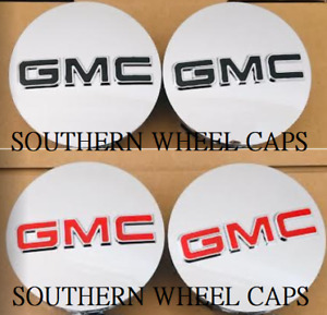 "GMC 83mm CHROME CENTER CAPS 2014-2019 Sierra Limited & Yukon + XL 20"" 22"" WHEELS"