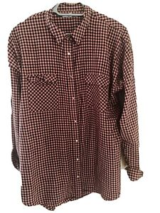 Ladies Next Checked Shirt Top Size 18 Tall Pink And Black
