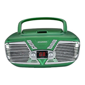 Sylvania Portable CD Boombox with AM/FM Radio, Retro Style, Green SRCD211-GREEN